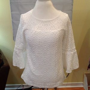 AGB Women's Top Size M White Lace Bell Sleeve EUC